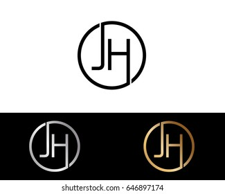 Jh Logo. Letter Design Vector with Red and Black Gold Silver Colors