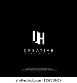 JH logo letter, shadow monogram design concept