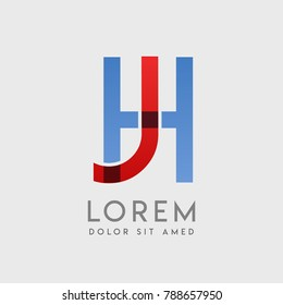 "JH logo letters with ""blue and red"" gradation"