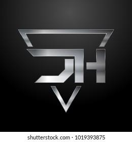 JH Logo, Metal Logo, Silver Logo, Monogram, Polygon