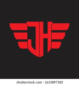 JH Logo monogram with emblem and wings element design template on red colors