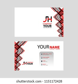 The JH logo on the red black business card with a modern design is horizontal and clean. and transparent decoration on the edges.