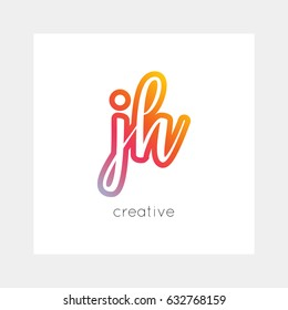 JH logo, vector. Useful as branding, app icon, alphabet combination, clip-art.