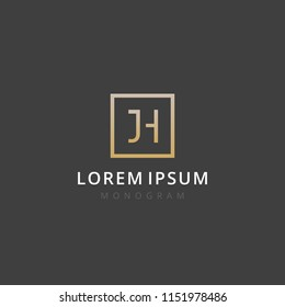 JH. Monogram of Two letters J & H. Luxury, simple, stylish and elegant JH logo design. Vector illustration template.