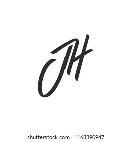 JH monogram. Vector hand writing jh logo. EPS 10 JH logo template . JH letters initial. Black logo lettering isolated on white background
