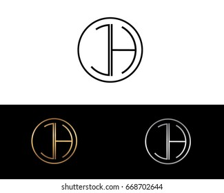 JH round circle shape initial letter logo