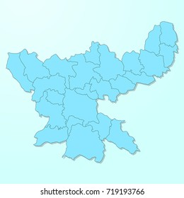 Jharkhand blue map on degraded background vector