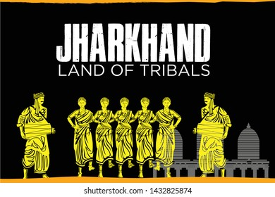 Jharkhand, land of tribals, culture of jharkhand, traditional of India, Yellow silhouette isolated on black background - vector