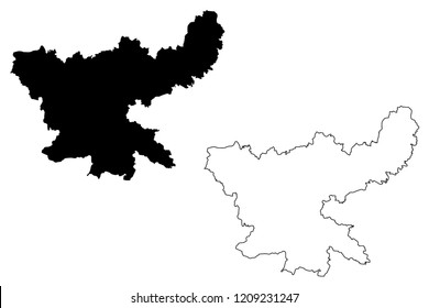 Jharkhand (States and union territories of India, Federated states, Republic of India) map vector illustration, scribble sketch Jharkhand state map