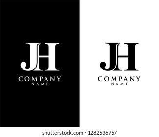 jh/hj initial company name logo template vector