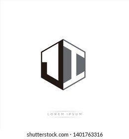 JI Logo Initial Monogram Negative Space Design Template With Black and Grey color