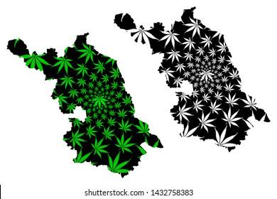 Jiangsu Province (Administrative divisions of China, China, People's Republic of China, PRC) map is designed cannabis leaf green and black, Kiangsu map made of marijuana (marihuana,THC) foliage