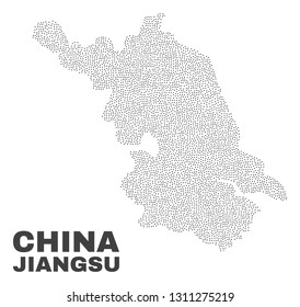 Jiangsu Province map designed with small dots. Vector abstraction in black color is isolated on a white background. Scattered small dots are organized into Jiangsu Province map.