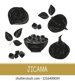 Jicama. Vegetable. Root, sheet, bowl. Monophonic. Set. Black silhouette on white background.