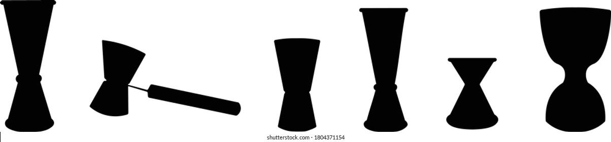 Jigger icon set, vector illustration. Flat vector design, isolated on white, graphic design symbols. silhouette black on white, cocktails bar jigger set
