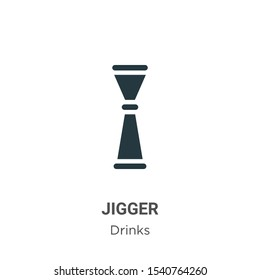 Jigger vector icon on white background. Flat vector jigger icon symbol sign from modern drinks collection for mobile concept and web apps design.