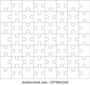 Jigsaw blank template or cutting guidelines of 56 pieces, 7 x 8 tiles vector puzzle game