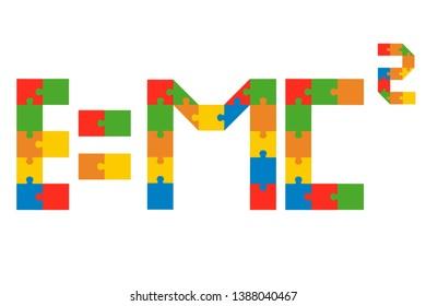 Jigsaw equation. Vector design with jigsaw pieces