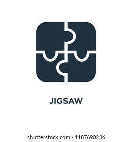 Jigsaw icon. Black filled vector illustration. Jigsaw symbol on white background. Can be used in web and mobile.