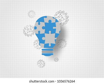 Jigsaw in the lightbulb shape and 3d gears on grid background represent new idea and innovation concept. Technology Background.  Concept of engineering and innovation. Vector illustration.
