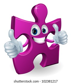 A jigsaw piece cartoon man smiling and giving a double thumbs up