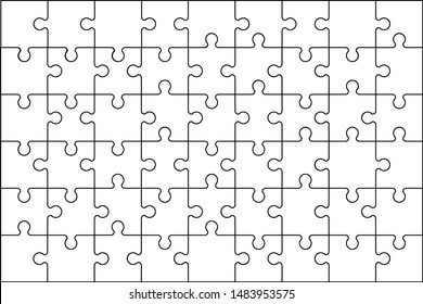 Jigsaw puzzle 54 pieces. Puzzles game grid layout template. Thinking game and 9x6 jigsaws detail frame design. Business solution metaphor or puzzles game challenge vector illustration