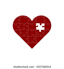Jigsaw puzzle with all its pieces put together forming a big red heart of love with one missing piece. Stock Vector illustration isolated