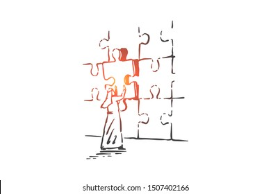 Jigsaw puzzle assembling concept sketch. Hand drawn isolated vector
