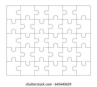 Jigsaw puzzle blank 6x5 elements, thirty vector pieces.