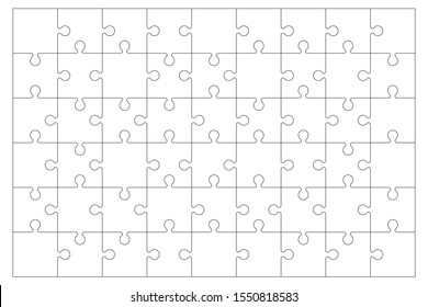 Jigsaw Puzzle blank with editable stroke no fill color. 6 x 9 puzzle pieces. Each piece is editable. Background Vector Illustration isolated on white.