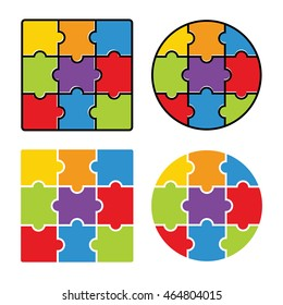 Jigsaw puzzle,  blank simple template 3 x 3, nine pieces. Vector illustration.