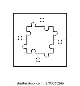 Jigsaw puzzle blank simple vector square of five pieces