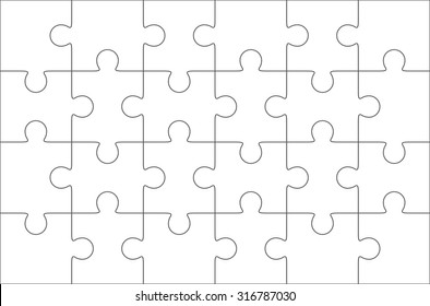 Jigsaw puzzle blank template 6x4 elements, twenty four puzzle pieces. Vector illustration.