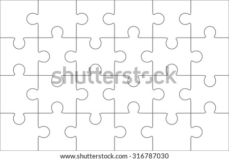 Jigsaw Puzzle Blank Template 6 X 4 Elements Stock Vector (Royalty ...