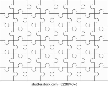 Jigsaw puzzle blank template 6x8 elements, fourty-eight puzzle pieces. Vector illustration.