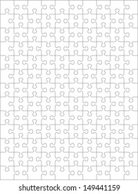 Jigsaw puzzle blank template or cutting guidelines of 130 transparent pieces. Pieces are easy to separate (every piece is a single shape).  For high res JPEG or TIFF see image 45999706