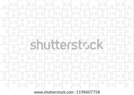 jigsaw puzzle blank template cutting guidelines stock vector