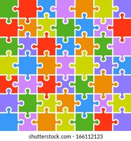 Jigsaw puzzle color parts template. 7x7 pieces.