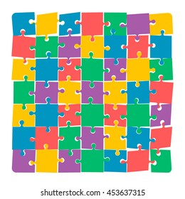 Jigsaw puzzle. Disconnected puzzle.Colorful vector illustration.