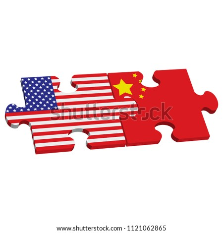 Jigsaw Puzzle Flag Of The United States Or Usa And China Flag Vector Il Ration Isolated On