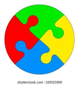 Jigsaw puzzle in the form of a colored circle. Vector illustration.
