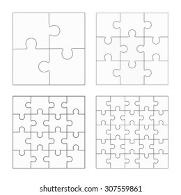 Jigsaw Puzzle Four Vector Templates Set Blank Simple Pieces