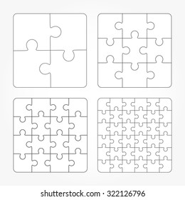 Jigsaw puzzle four vector templates set, blank simple pieces