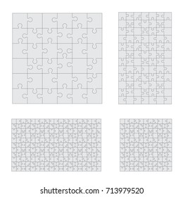 Jigsaw puzzle four vector templates set of different size