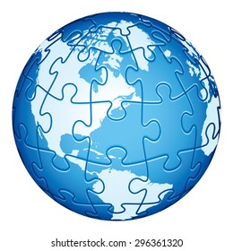 Jigsaw Puzzle Globe with America continents. Main elements are on separate layers. Easy to  change or remove.