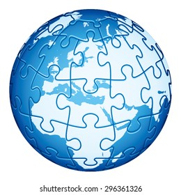 Jigsaw Puzzle Globe with Europe and Africa continents. Main elements are on separate layers. Easy to  change or remove.