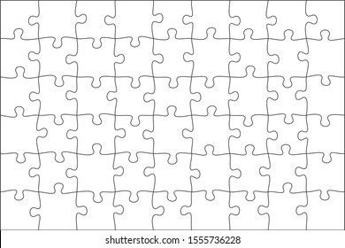 jigsaw puzzle grid background. tile vector illustration. black and white