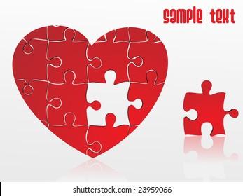 jigsaw puzzle heart, vector illustration