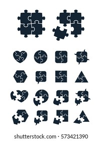 Jigsaw puzzle icons collection - complete and incomplete, vector illustration, editable for your design