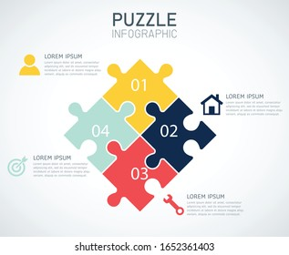 jigsaw puzzle infographic on white background. vector illustration flat design. business and finance concept. icons can be used for workflow layout, diagram, web design. 4 options or processes.
